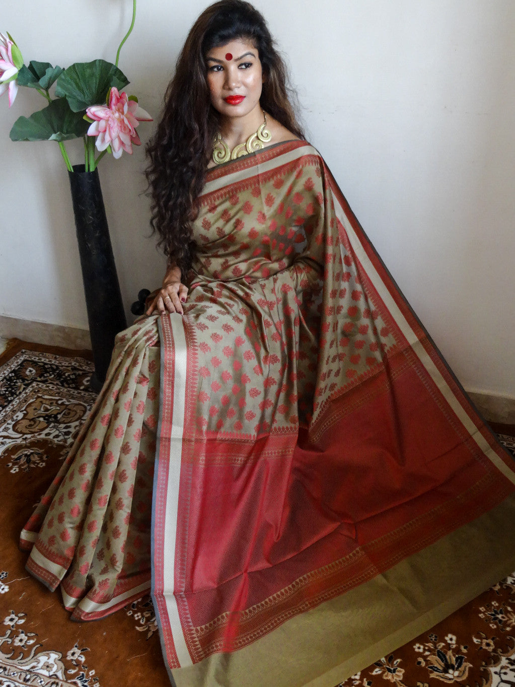 Banarasee/Banarasi Cotton Silk Red Booti Sari-Light Brown