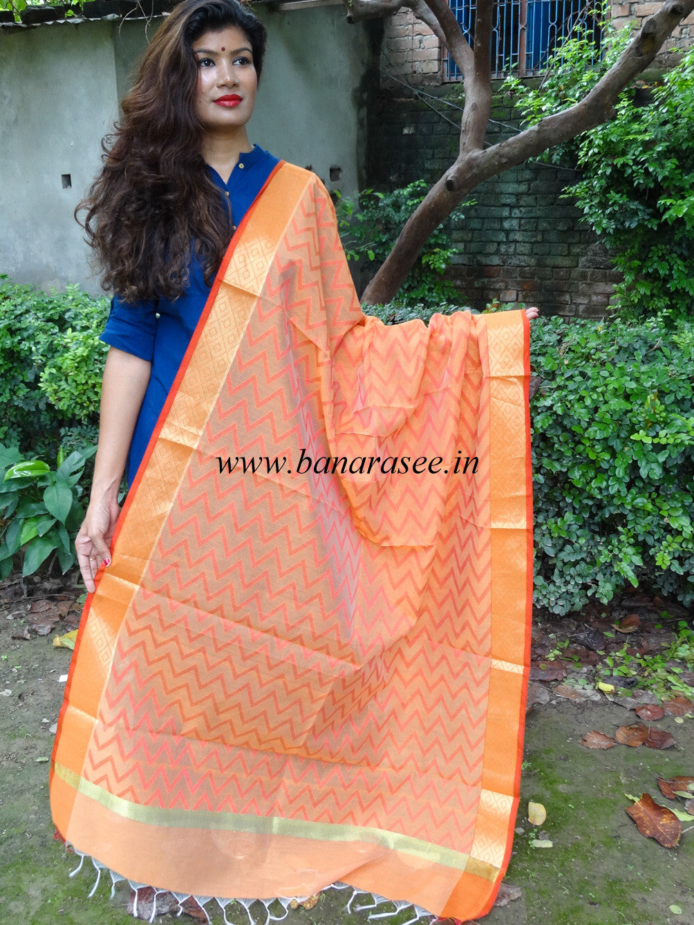 Banarasi Cotton Silk Zig Zag Pattern Dupatta-Orange