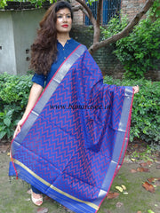 Banarasi Cotton Silk Zig Zag Pattern Dupatta-Royal Blue