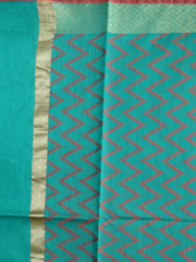Banarasi Cotton Silk Zig Zag Pattern Dupatta-Green