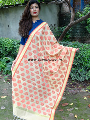 Banarasi Cotton Silk Leaf Motif Dupatta-White