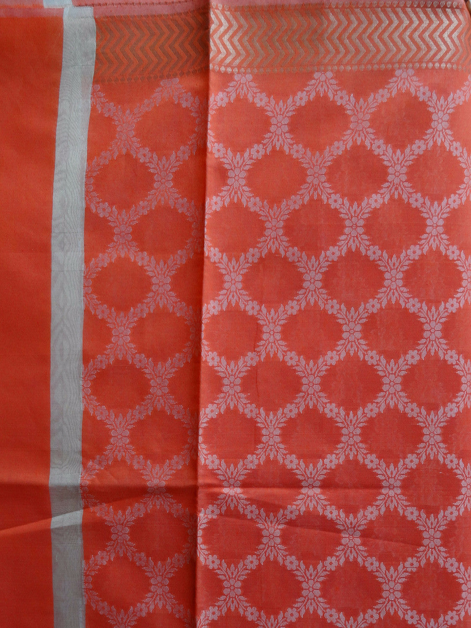 Banarasi Cotton Silk Jaal Pattern Dupatta-Orange