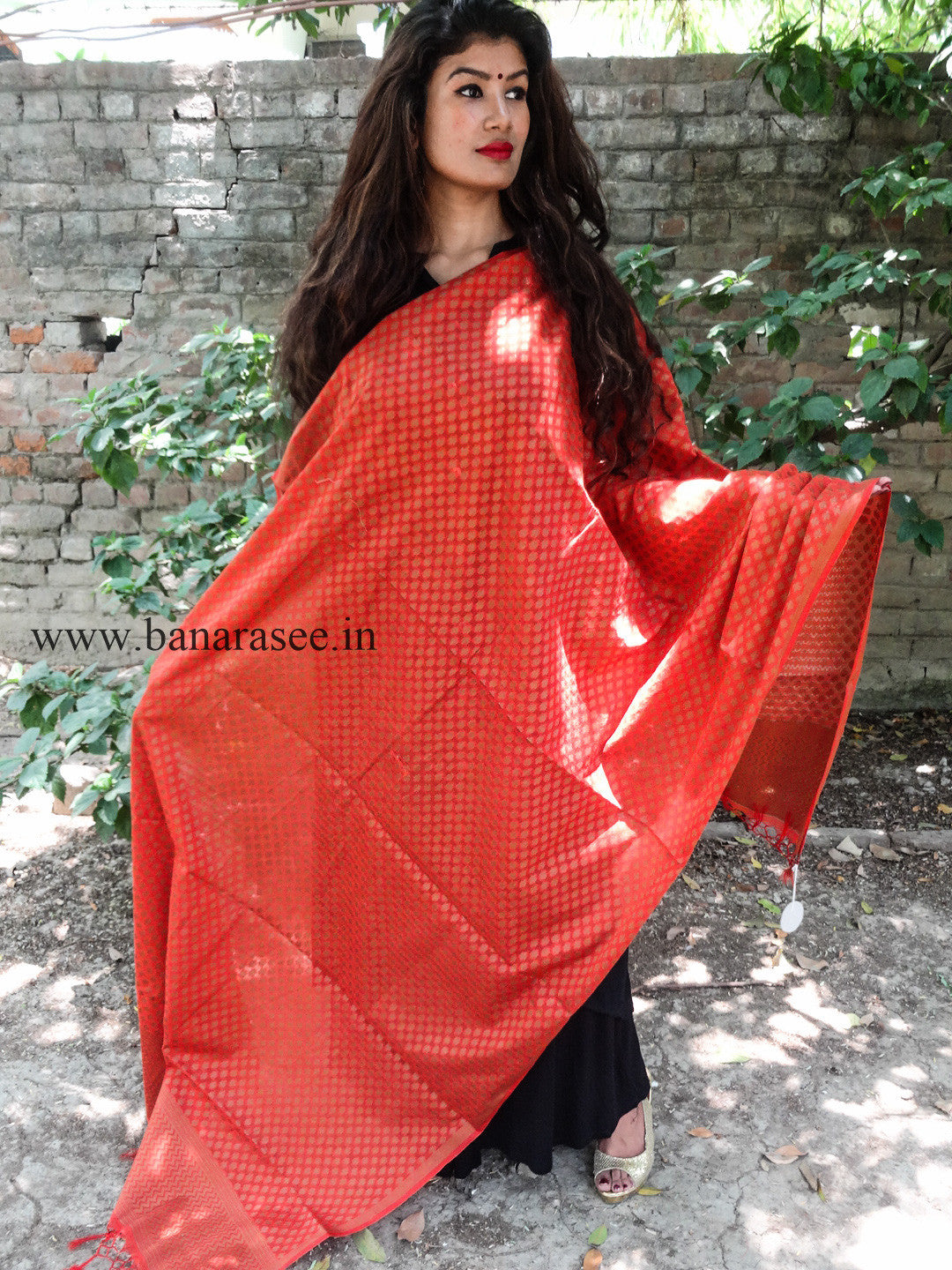 Banarasi Cotton Silk Dupatta-Rust