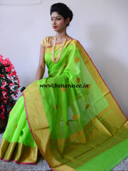 Banarasi Pure Handloom Silk Cotton Sari Buti With Golden Border-Lime Green