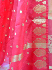 Banarasee Chanderi Cotton Salwar Kameez Fabric With Contrast Red Art Silk Dupatta-Peach