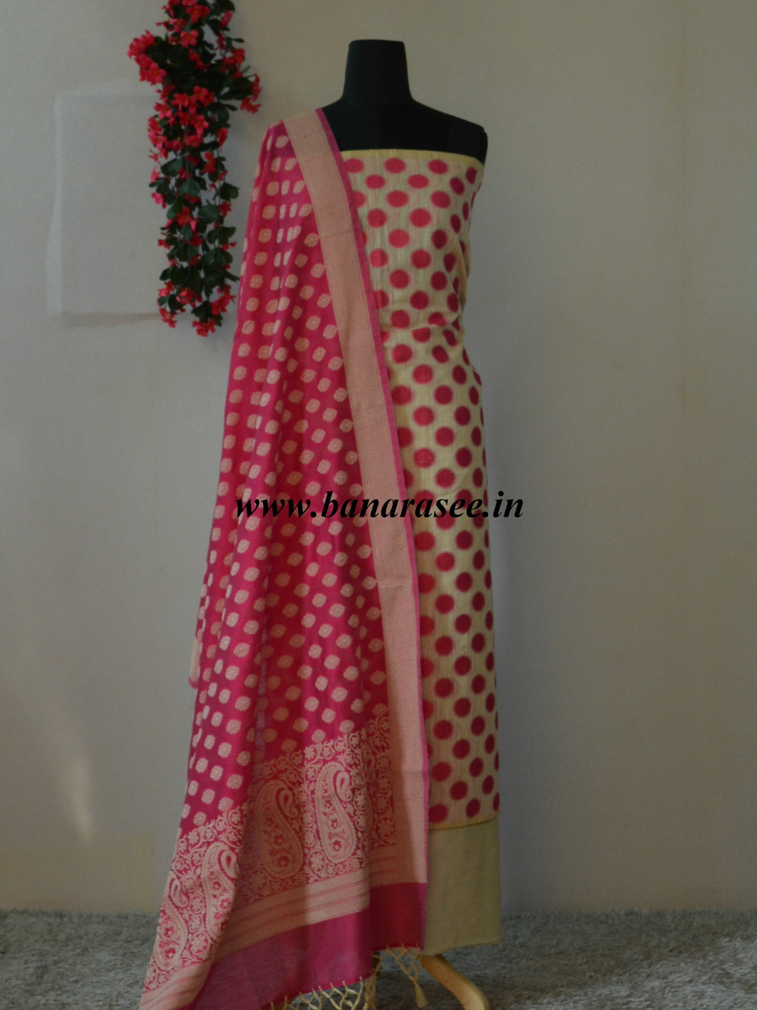 Banarasee/Banarasi Salwar Kameez Soft Cotton Resham Woven Fabric With Pink Polka Dot-Beige
