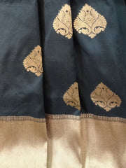 Banarasee Handloom Pure Katan Silk Saree With Copper Zari Buti & Border-Black
