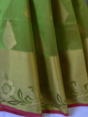 Banarasee/Banarasi Handloom Cotton Silk Mix Broad Border Sari-Green