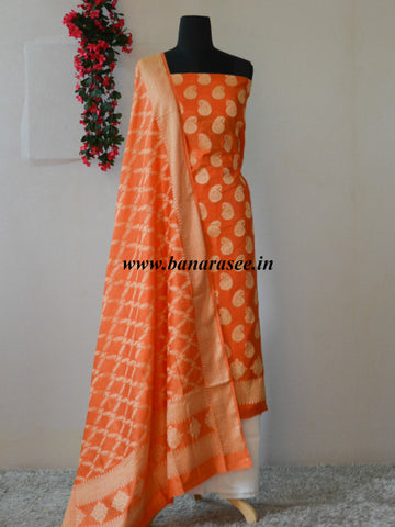 Banarasi Salwar Kameez Cotton Silk Woven Paisley Zari Buti Fabric-Orange