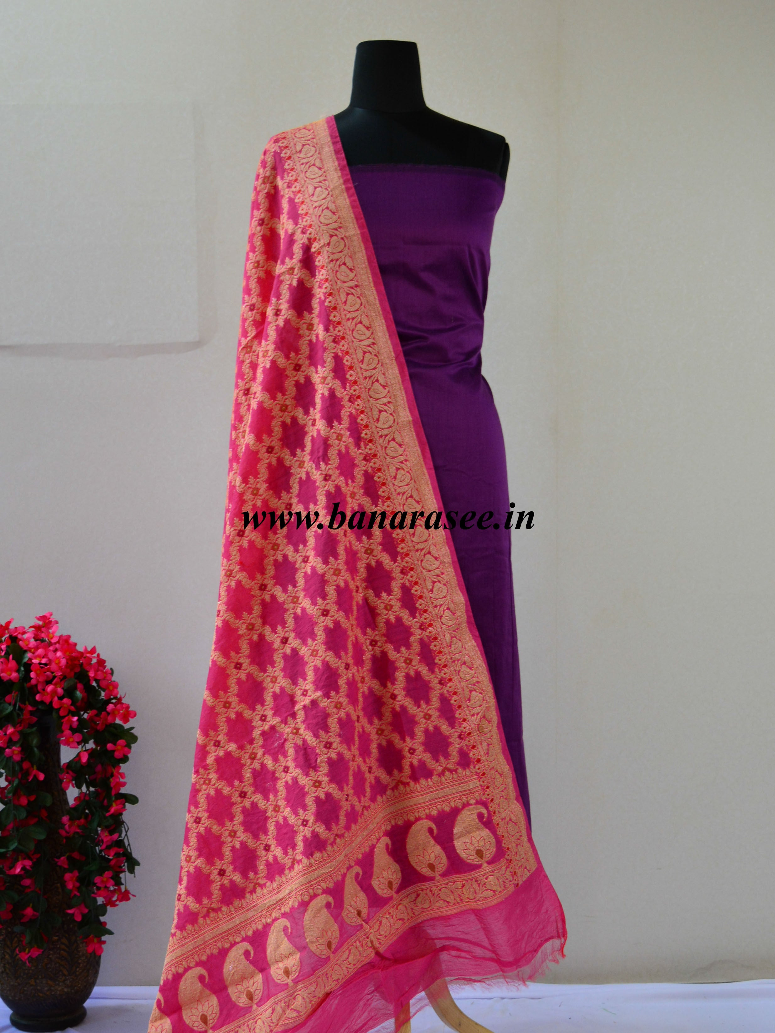 Banarasee Cotton Silk Plain Salwar Kameez Fabric With Pink Zari Jaal D