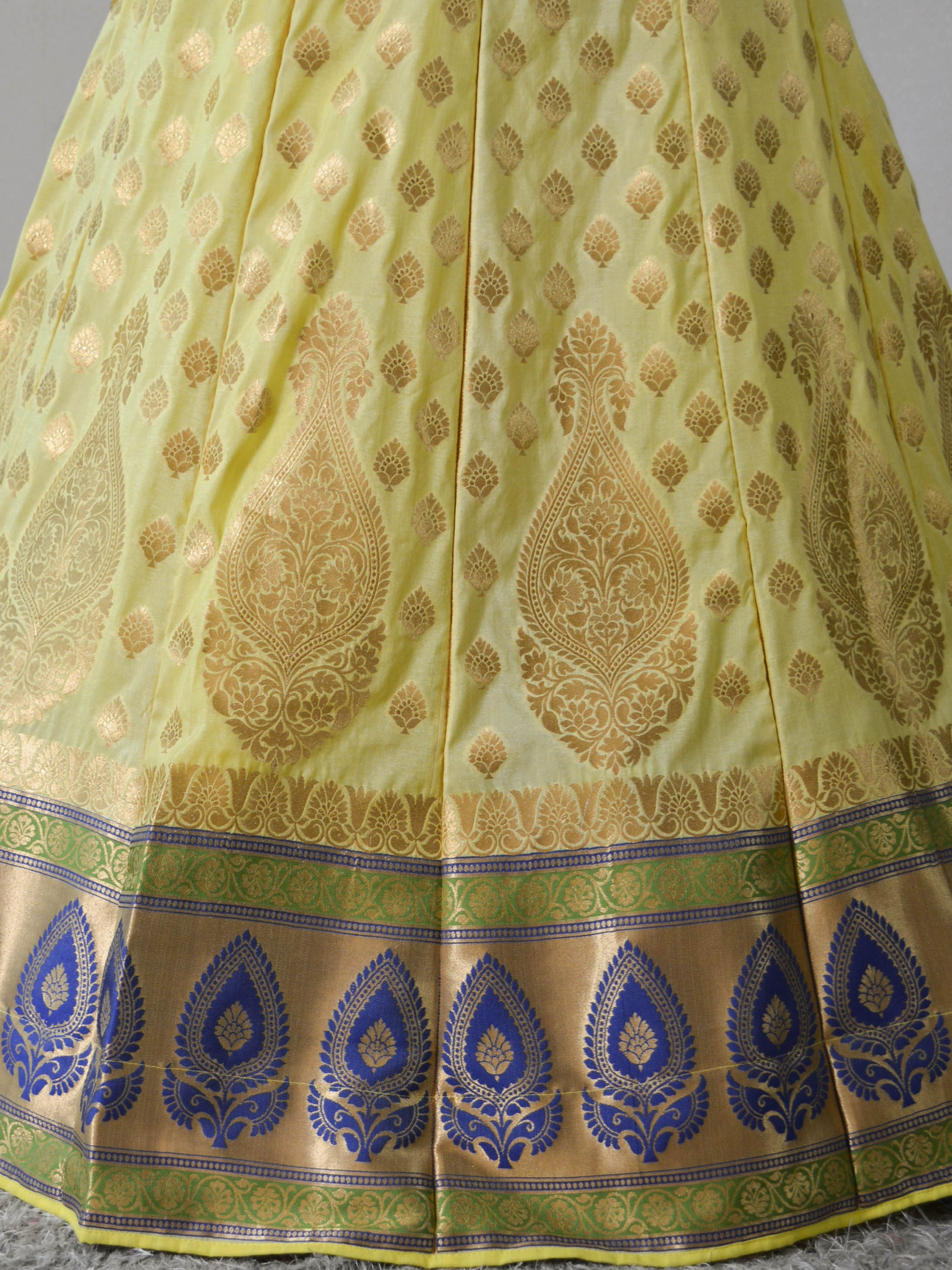 Banarasee Handwoven Art Silk Unstitched Lehenga & Blouse Fabric With Net Dupatta-Lemon Yellow