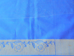 Banarasee/Banarasi Handloom Cotton Silk Mix Broad Border Sari-Blue