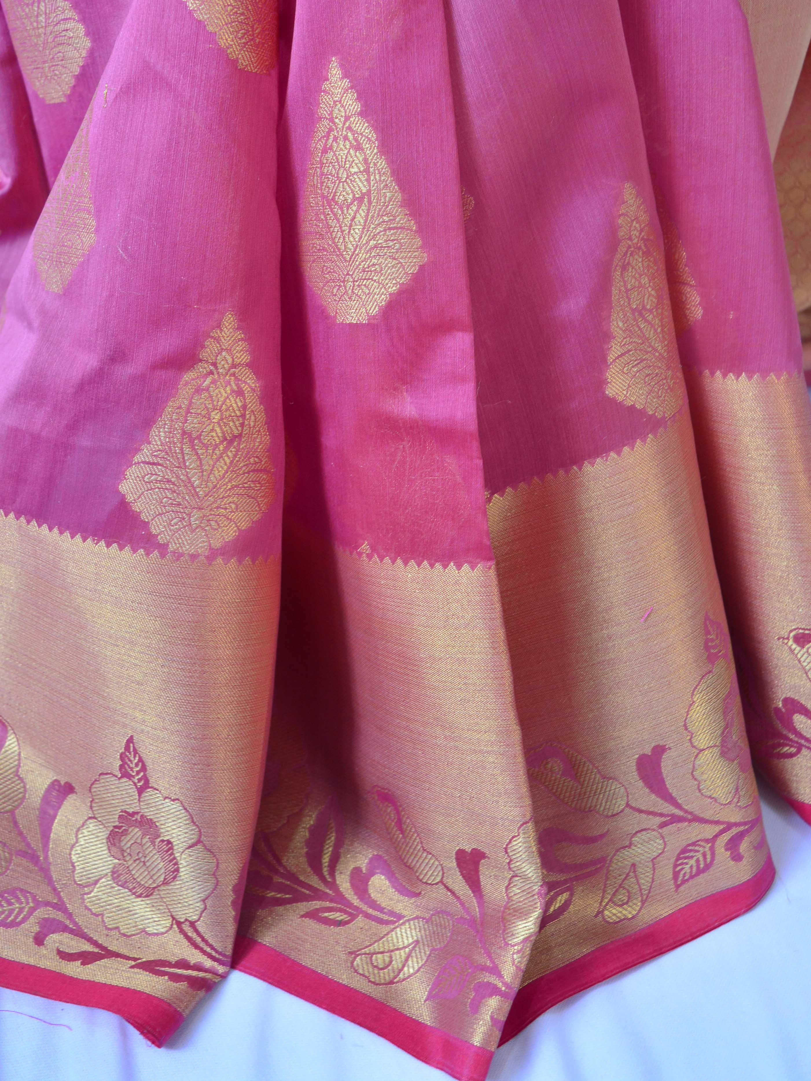 Banarasee/Banarasi Handloom Cotton Silk Mix Broad Border Sari-Onion Pink
