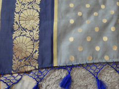 Chanderi Cotton Saree With Woven Zari Motifs& Broad Border With Contrast Royal Blue Blouse-Grey