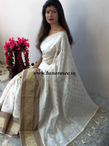 Chanderi Cotton Saree With Woven Zari Motifs & Broad Border With Beige Zari Buti Blouse-Off White