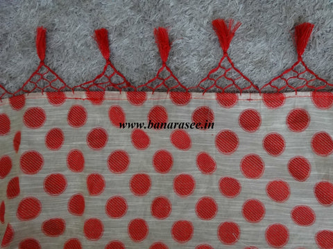 Banarasee Soft Cotton Saree With Red Woven Polka Dot Motifs Contrast Red Blouse-Beige