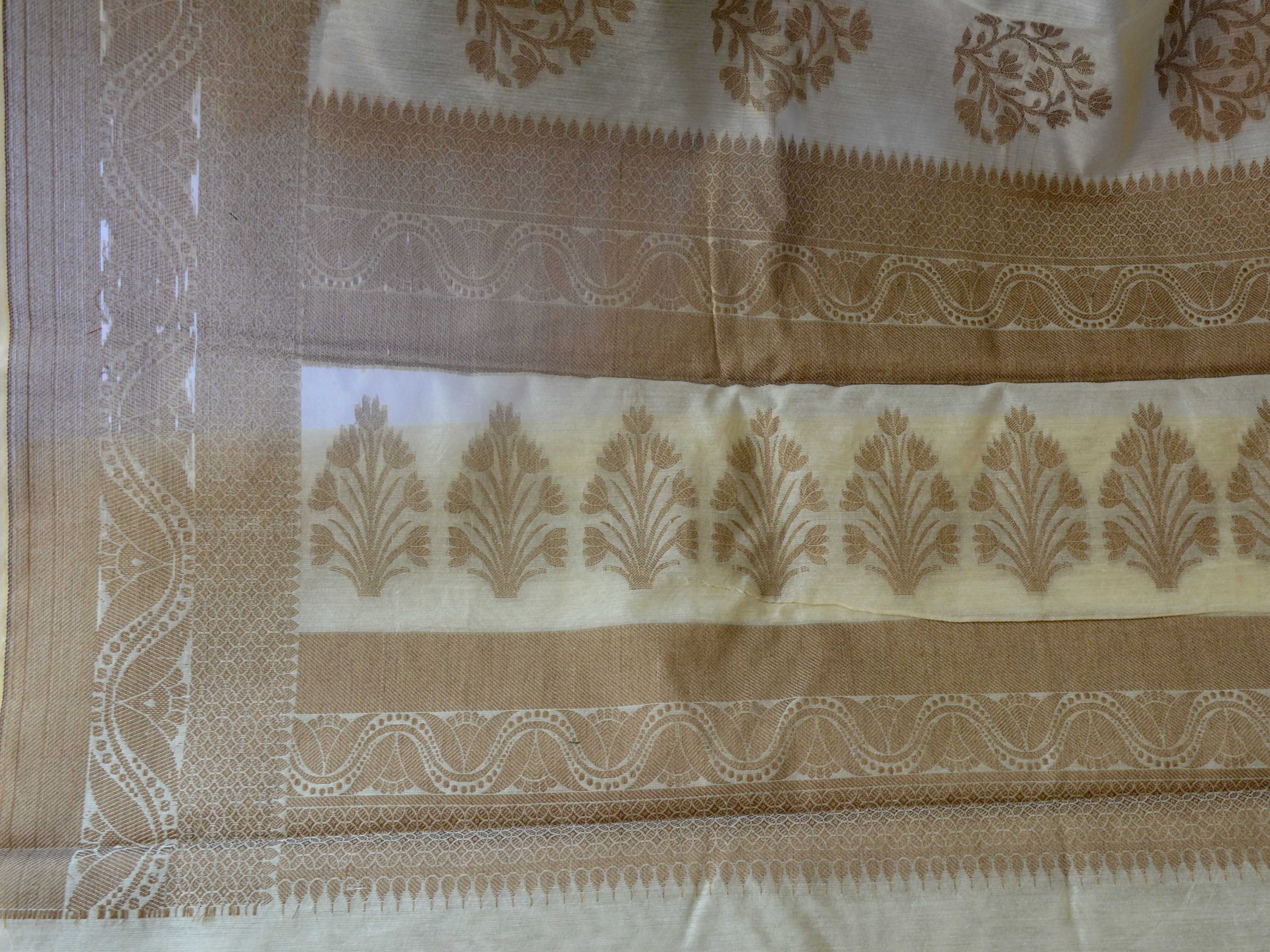 Banarasee Silk Cotton Saree Khichha Tree Buti Design-Beige