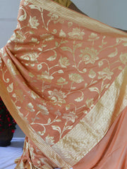 Banarasee Handwoven Pure Muga Silk Sari With Floral Body & Border-Pastel Peach