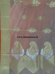 Banarasee Pure Handloom Silk Cotton Saree With Sona Rupa Zari Buti-Peach