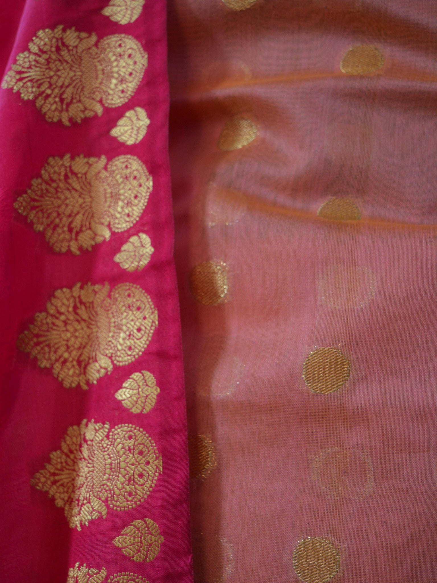 Banarasee/Banarasi Chanderi Cotton Salwar Kameez Fabric With Contrast Pink Art Silk Dupatta-Peach