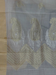 Banarasee Pure Handloom Silk Cotton Saree With Sona Rupa Zari Buti-Off White