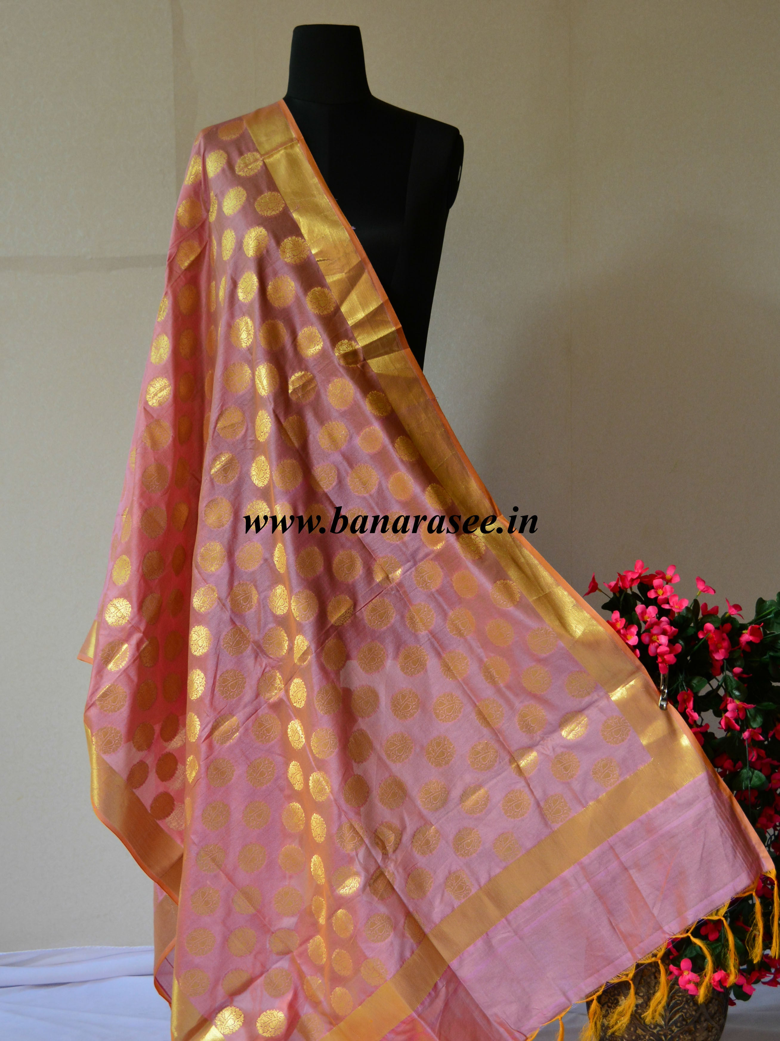 Cotton Silk Dupatta Buti Design-Peach(Dual Tone)