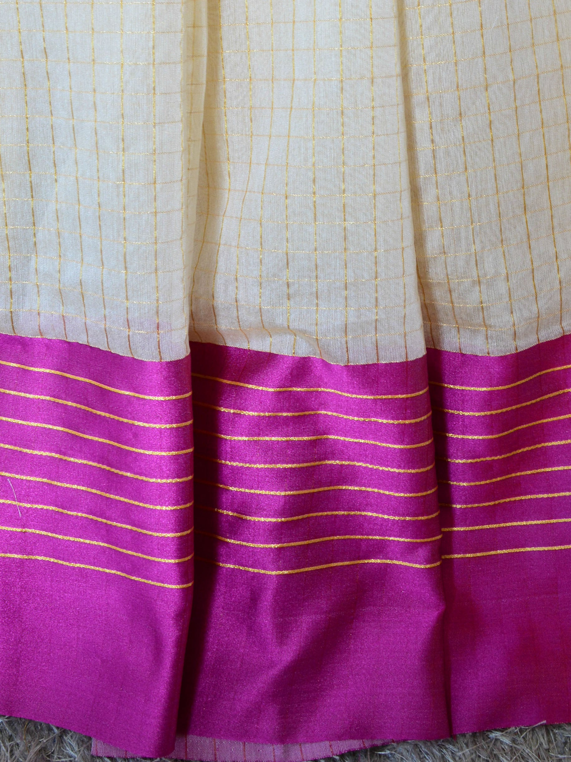 Banarasee/Banarasi Cotton Silk Mix Saree With Golden Checks & Purple Satin Border-Off-White