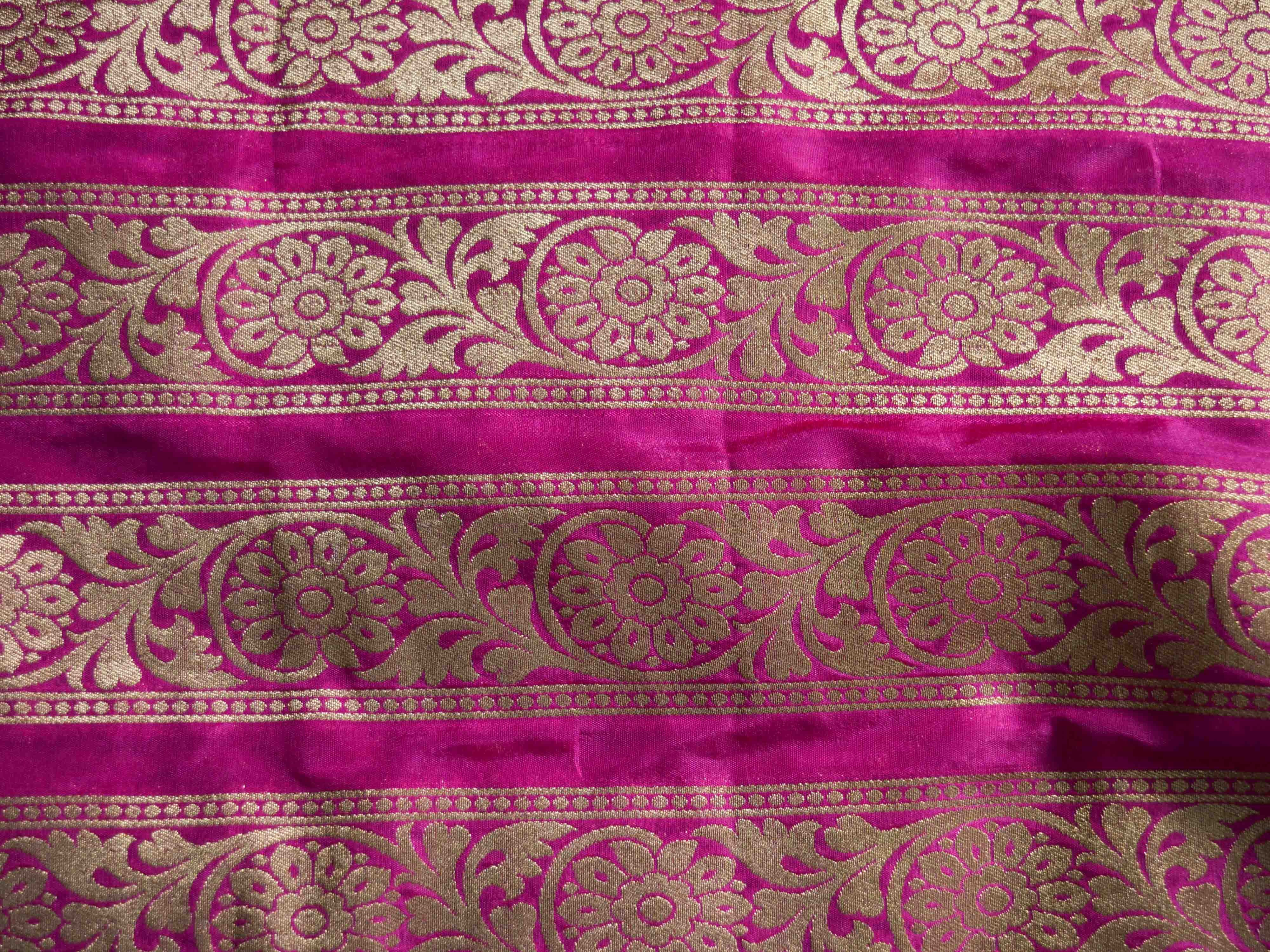 Banarasee Handwoven Art Silk Unstitched Lehenga & Blouse Fabric With Yellow Net Dupatta-Hot Pink