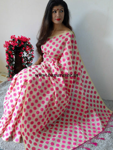 Banarasee Soft Cotton Saree With Pink Woven Polka Dot Motifs Contrast Pink Blouse-Beige
