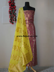 Handwoven Zari & Resham Satin Brocade Salwar Kameez Fabric With Yellow Art Silk Dupatta-Purple
