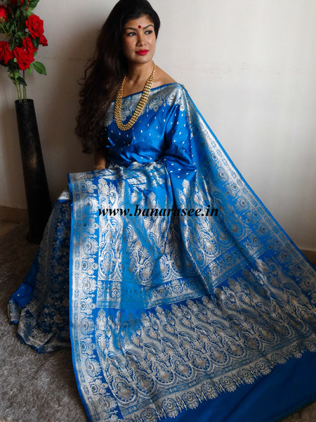 Banarasee/Banarasi Handloom Pure Silk Saree With Heavy Pallu & Border Work In Rupa Zari-Blue
