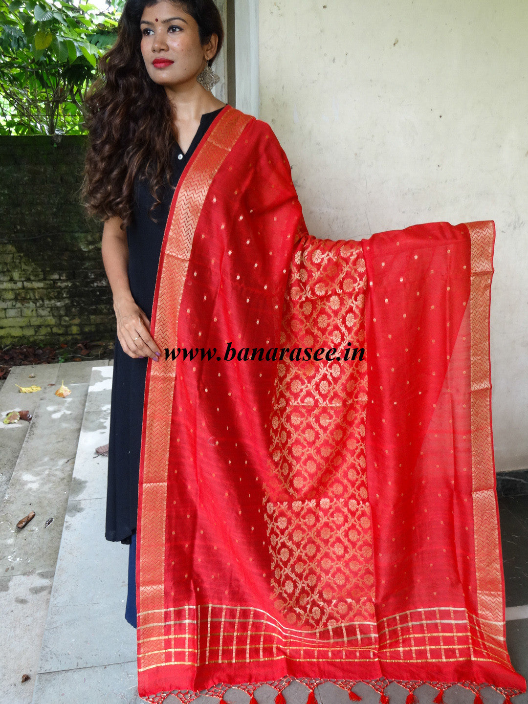 Banarasee/ Banarasi Cotton Silk Mix Zari Jaal Dupatta-Red
