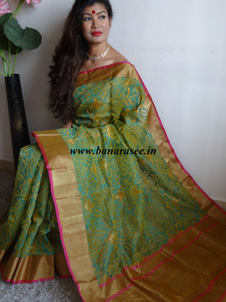 Banarasee/Banarasee Pure Handloom Kora Silk Sari With Green Jaal Work-Yellow