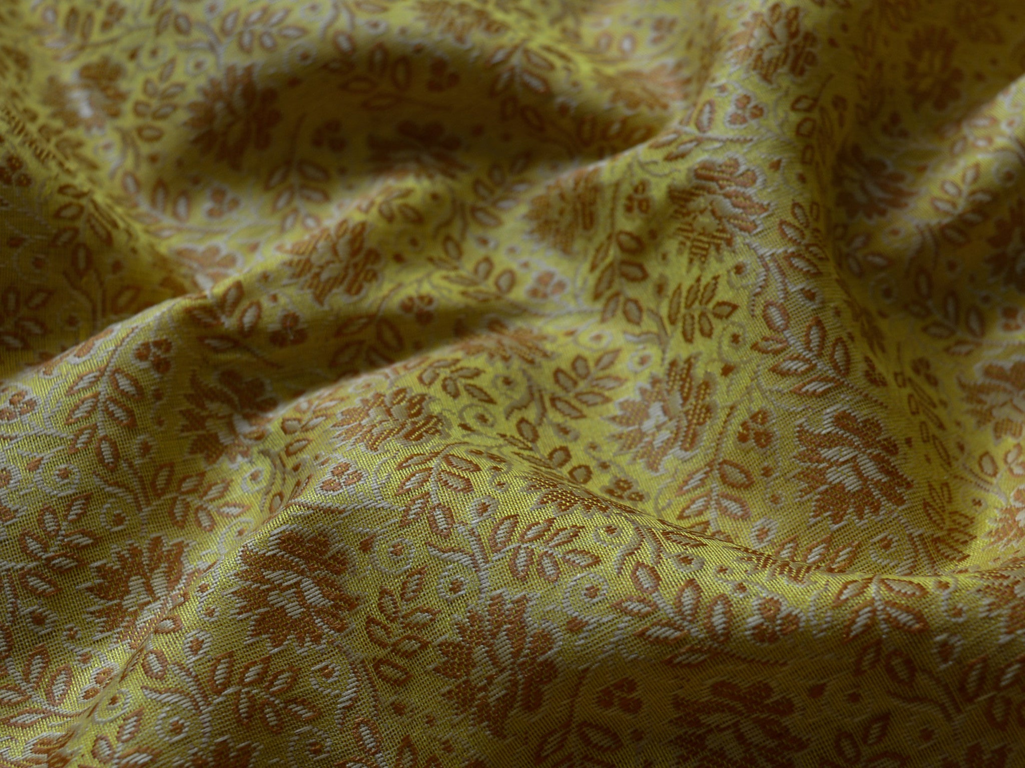 Banarasee/Banarasi Salwar Kameez Cotton Silk Resham Buti Woven Fabric-Yellow