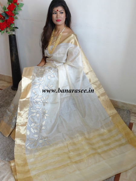 Banarasee/Banarasi Handwoven Pure Tussar Silk Sari With Gold Floral Border-Off White