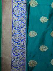 Banarasee/Banarasee Handloom Pure Katan Silk Sari With Skirt Border-Green