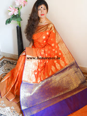 Banarasee Cotton Silk Mix Saree with Floral Zari Work Border-Orange
