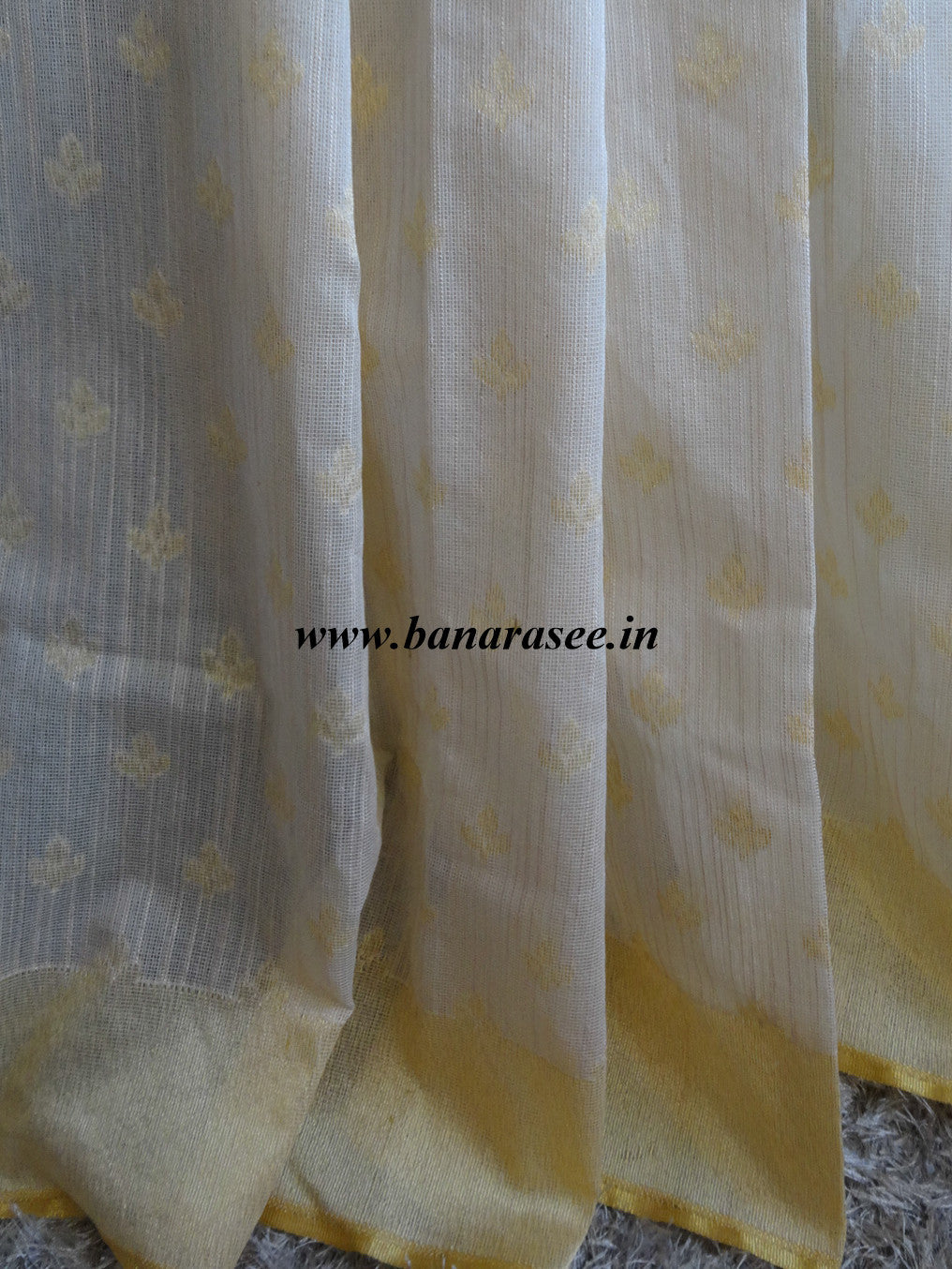 Banarasee/Banarasee Handwoven Half & Half Tissue Saree-White & Gold