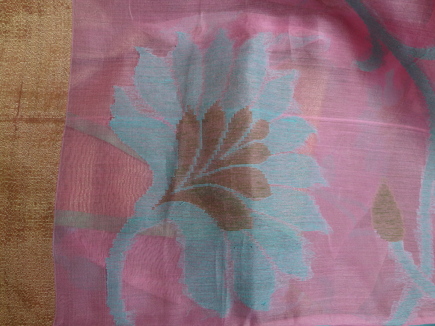 Banarasee/Banarasee Pure Handloom Kora Silk Sari With Blue Jaal Work-Pink
