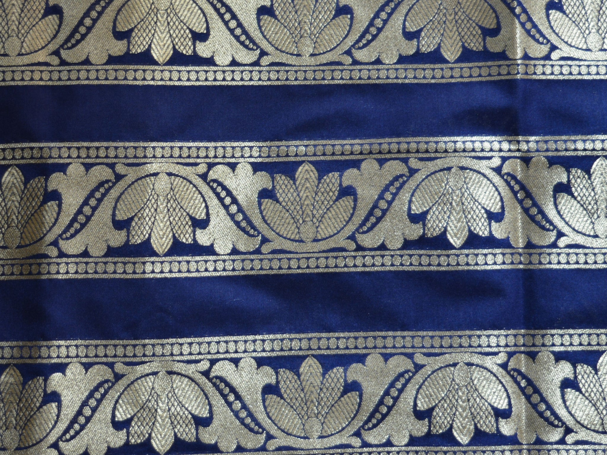 Banarasee/Banarasi Handwoven Art Silk Unstitched Lehenga & Blouse Fabric-Deep Blue