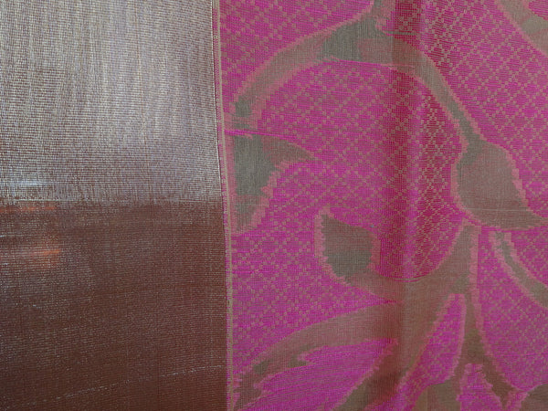 Banarasee/Banarasi Organza Mix Saree With Floral Jaal Design & Zari Border-Pink