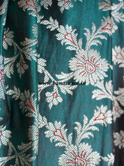 Banarasee/Banarasi Handwoven Brocade Unstitched Lehenga Fabric with Chiffon Dupatta-Sea Green