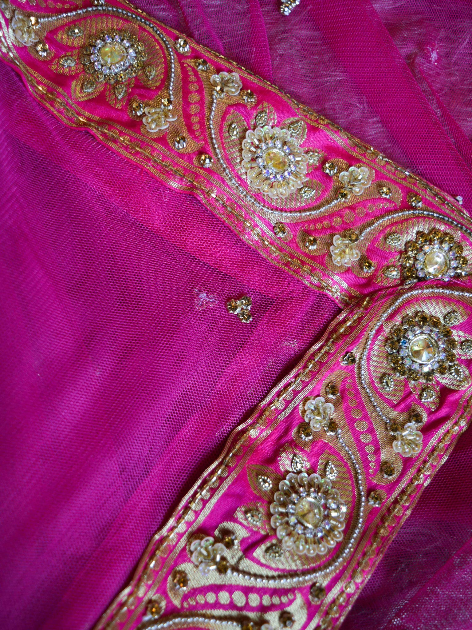 Handwoven Art Silk Semi-stitched Lehenga & Blouse With Handwoven Embellishments Fabric-Hot Pink