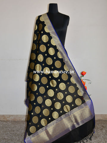 Banarasee Art Silk Dupatta Big Buta Design-Black