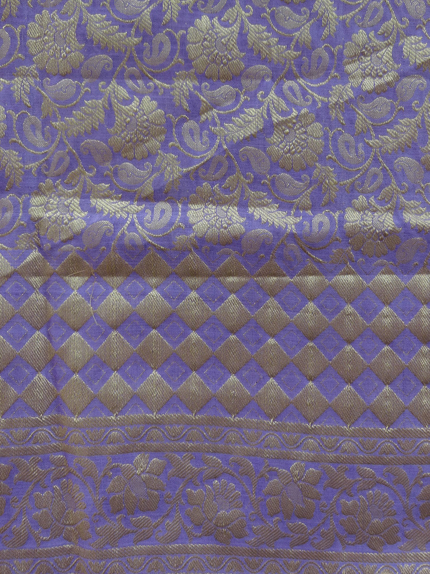 Banarasee/ Banarasi Cotton Silk Mix Heavy Jaal Work Dupatta-Purple
