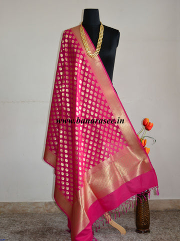 Banarasee Art Silk Dupatta Small Buti Design-Hot Pink