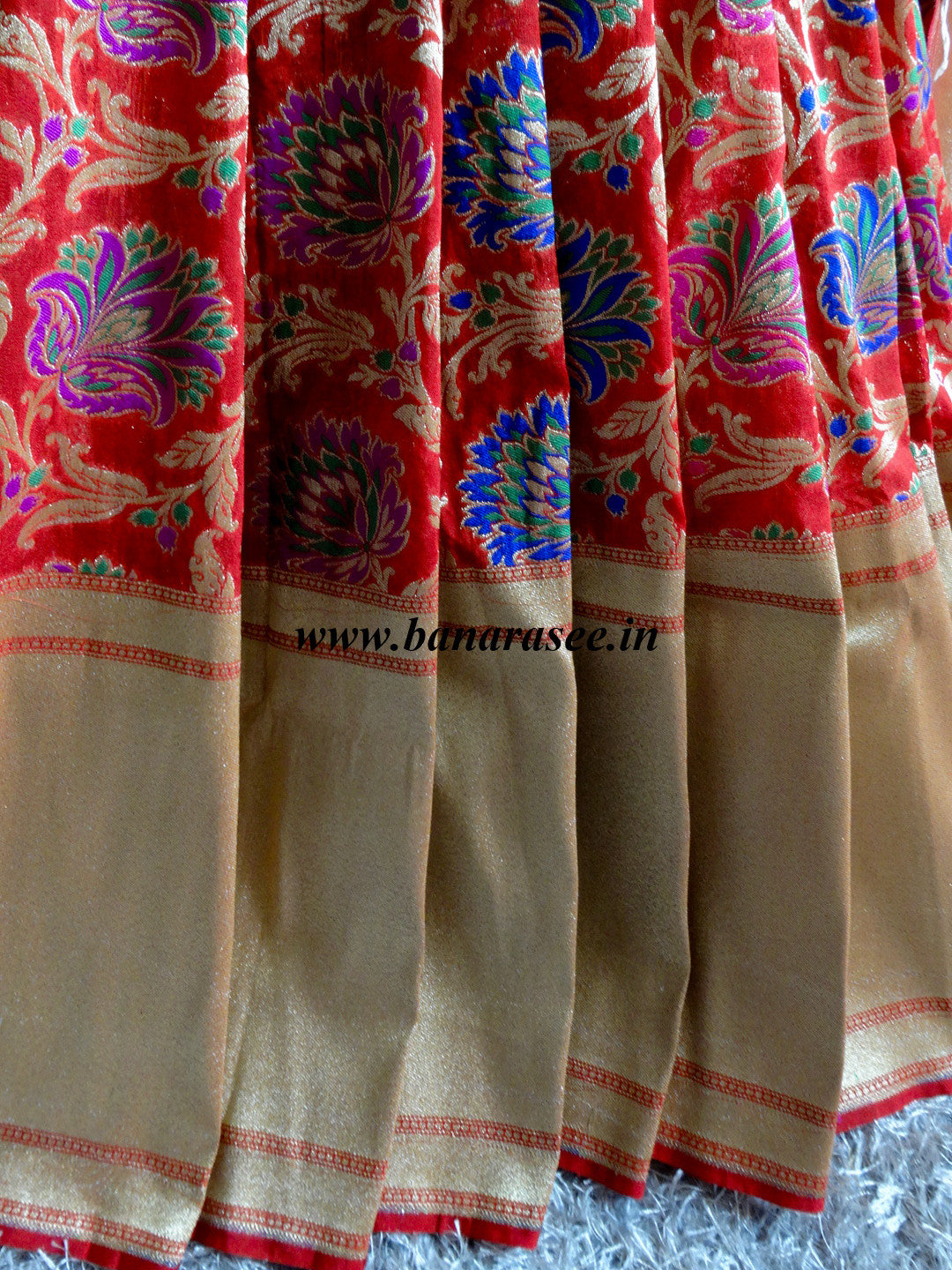 Banarasee/Banarasi Pure Georgette Silk Mix Floral Jaal Saree-Red
