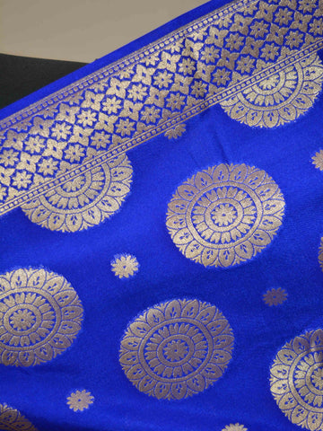 Banarasee Art Silk Dupatta Big Buta Design-Royal Blue