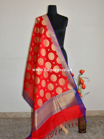 Banarasee Art Silk Dupatta Big Buta Design-Red