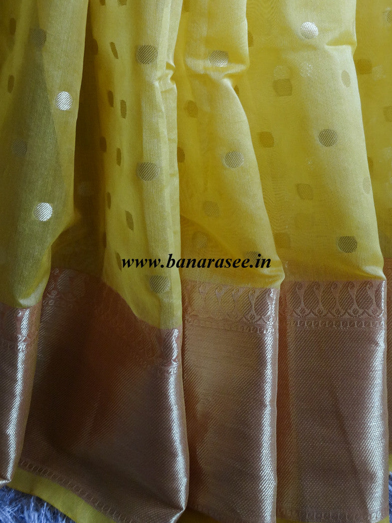 Banarasee Chanderi Cotton Zari Polka Dots With Skirt Border - Yellow